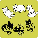Black and White Cats - Vector set. Stock Images