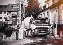 Black and white cement mixer Stock Image