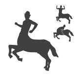 Black and white centaur silhouettes set Stock Photo