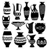 Black and white ceramic bowls. Black and white ancient ceramic bowls and vases vector illustration vector illustration
