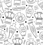 Black and white ceramic seamless pattern. Ethnic antique Greek style background. China. Endless texture with hand drawn tableware Royalty Free Stock Images