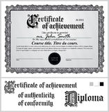 Black and white certificate. Template. Horizontal. Royalty Free Stock Image