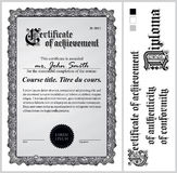 Black and white certificate. Template. Vertical. Stock Photos