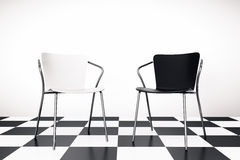 Black and White Chairs 3d rendering Stock Photo
