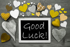 Black And White Chalkbord, Many Yellow Hearts, Good Luck Royalty Free Stock Image