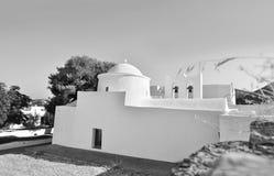 Black and white chapel Sifnos Greece stock photos
