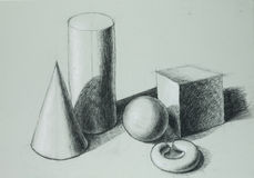 Hand drawn illustration of different geometric shapes Stock Photography