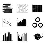 Black white charts set. For economy and analytics, vector illustration Royalty Free Stock Image