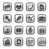 Black and white chat Application and communication Icons Stock Photo