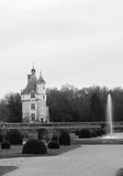 Black and White Chateau de Chenonceau in France Stock Image