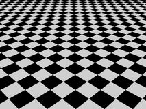 Black and white check pattern. Seamless background of black and white check patterned flooring receding into distance Royalty Free Stock Images