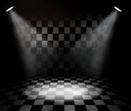 Black and white check room. With spotlights Stock Photo