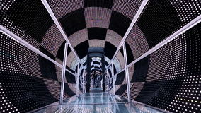Black and white checked light tunnel stock video footage