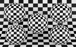 Black and white checker background with five spheres. 3d render. Ing Royalty Free Stock Image