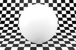 Black and white checker background with white sphere. 3d render. Ing Royalty Free Stock Images