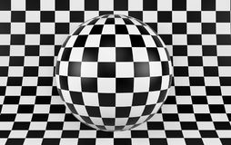Black and white checker background with sphere. 3d render. Ing Royalty Free Stock Image