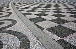 Black and White Checker Floor Tile Pattern Stock Photography