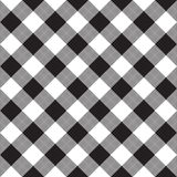 Black white checkerboard check diagonal textile seamless pattern Royalty Free Stock Images