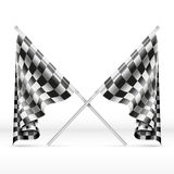 Black and white checkered crossed finish flags vector illustration Royalty Free Stock Photos