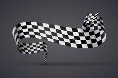 Black and white checkered flag or banner Stock Image