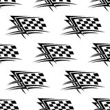 Black and white checkered flag seamless pattern. Black and white checkered flag used in motor sports in a repeat motif seamless pattern in square format Royalty Free Stock Photo
