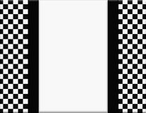 Black and White Checkered Frame with Ribbon Background Stock Photos