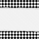 Black and White Checkered Frame with Torn Background Stock Photography