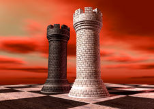 Black And White Chess Castles Square Off Royalty Free Stock Photography