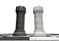 Black And White Chess Castles Square Off Stock Photo