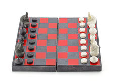 Black and white chess with chess board Stock Photography