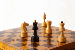 Black and white chess on chessboard Stock Photo