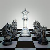 Black and white chess figures on chessboard. Checkmate game process. Smart white queen. Business strategy advantage concept. Tactic threat in team attack Stock Images
