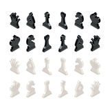 Black and white chess figures in isometric view. Isolated on white Royalty Free Stock Images