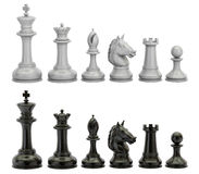 Black and white chess figures in row, 3D rendering. Black and white chess figures in row Royalty Free Stock Image