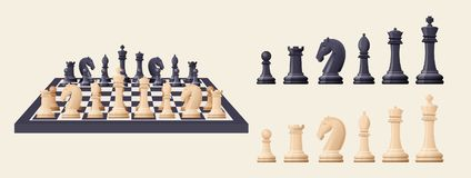 Black and white chess game pieces, figures on chess board. Logical tactical turn-based game, chess tournament, sport game, hobby and interests, highly Royalty Free Stock Photos
