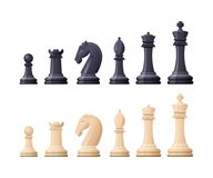 Black, white chess game pieces, figures. Logical tactical