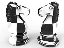 Black and white chess horses. 3D rendered illustration of two chess horses textured with a checkerboard texture. The composition is  on a white background with Royalty Free Stock Image