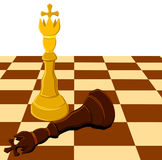 Black white chess king on board isolated. Illustration Royalty Free Stock Photography
