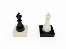 Black and white chess kings. On white, 3D Stock Image