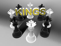 Black and White Chess Kings. 3D rendered illustration of multiple chess kings pieces arranged in a circular pattern. The composition is positioned on a white Stock Photography