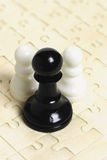 Black and white chess pawns Stock Images