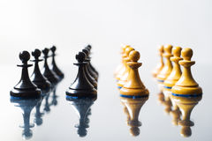 Black and white chess pawns Royalty Free Stock Images