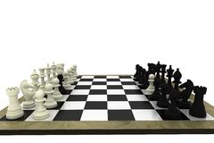Black and white chess pawns defecting Stock Image