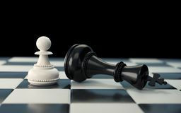 Black and white Chess piece Concept for business. Chess piece Concept for business competition and strategy, Board game 3d rendering royalty free illustration