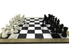 Black and white chess pieces on board Royalty Free Stock Photography