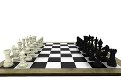 Black and white chess pieces on board Royalty Free Stock Photo