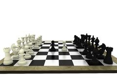 Black and white chess pieces on board Stock Images