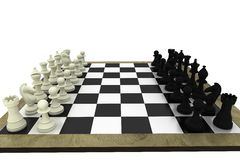 Black and white chess pieces on board Royalty Free Stock Image