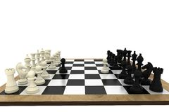 Black and white chess pieces on board. On white background Stock Photos