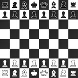 Black and White Chess Pieces on Chessboard stock illustration